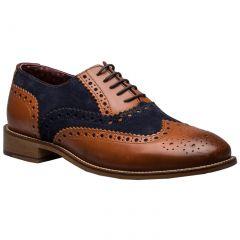 London Brogues Mens Gatsby Shoes - Tan Navy