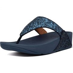 Fitflop Womens Lulu Glitter Toe Thongs Sandals - Navy