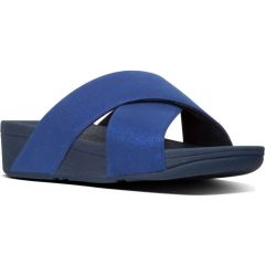 Fitflop Womens Lulu Shimmerlux Cross Slide Sandals - Midnight Blue