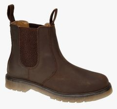 Grafters Mens Slip On Air Cushion Leather Cheslea Boots - Brown