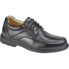 Roamers Mens Extra Wide Leather Lace Up Shoes - Black