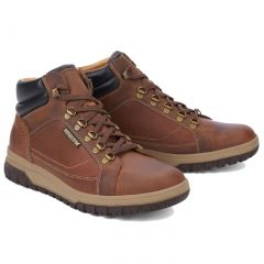 Mephisto Mens Pitt Leather Ankle Boots - Tobacco Brown