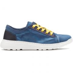 On Foot Mens Basket Canvas Lace Up Trainers Shoes - Indigo