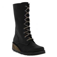 Oxygen Womens Tamar Mid Calf Wedge Boots - Black