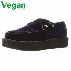 T.U.K Womens Viva Low Creeper Sneakers Velvet Platform Shoes - Blue