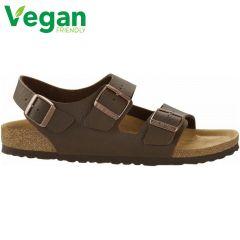 Birkenstock Mens Milano Vegan Regular Fit Sandals - Saddle Matt Brown