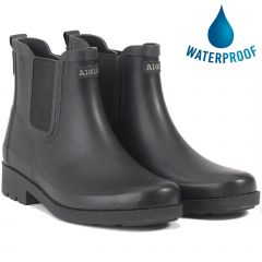 Aigle Womens Carville Chelsea Ankle Wellington Boots - Noir