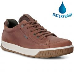Ecco Shoes Mens Byway Tred Waterproof Leather Trainers - Brandy