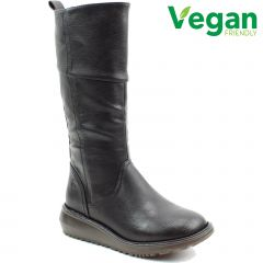 Heavenly Feet Womens Robyn 2 Vegan Wedge Boots - Black