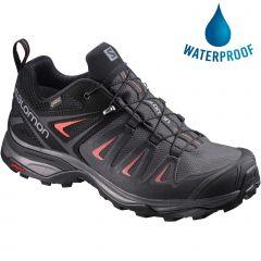 Salomon Womens X Ultra 3 GTX Waterproof Walking Hiking Trainers Shoes - Magnet Black Mineral Red