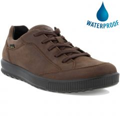 Ecco Shoes Ennio GTX Waterproof Leather Trainers - Coffee