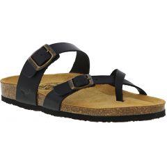 Plakton Womens Savannah Strappy Toe Post Sandals - Black