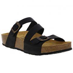 Plakton Womens Sevilla Mid Leather Slide Sandal - Black