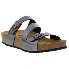 Plakton Womens Sevilla Mid Leather Slide Sandal - Silver