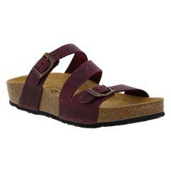 Plakton Womens Sevilla Mid Leather Slide Sandal - Purple