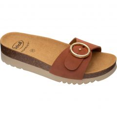 Scholl Womens Malibu Mule Adjustable Slide Sandals - Cognac