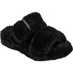 Skechers Womens Cozy Wedge Vegan Faux Fur Slide Slippers - Black Black