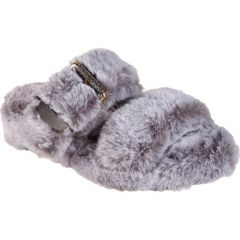 Skechers Womens Cozy Wedge Vegan Faux Fur Slide Slippers - Grey