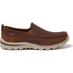 Skechers Mens Superior Milford Leather Slip On Shoes - Light Brown