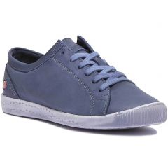 Softinos By Fly London Womens Isla Leather Trainers - Washed Navy