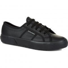 Superga Womens 2750 Cotu EFGLU Leather Trainers Shoes - Total Black