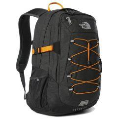 North Face Borealis Classic Backpack Rucksack Laptop Shoulder Bag - Asphalt Grey Knockout Orange