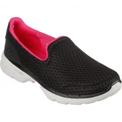 Skechers Womens Go Walk 6 Big Splash Trainers - Black Hot Pink