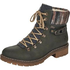 Rieker Womens Hiker Water Resistant Ankle Boots - Green Forest