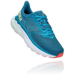 Hoka One One Womens Arahi 5 Road Running Shoes - Mosaic Blue Luminary Green