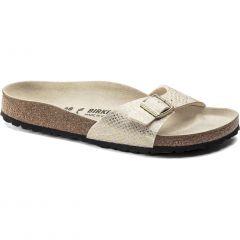 Birkenstock Womens Madrid Sandals - Shony Python Eggshell Gold