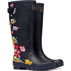 Joules Womens Welly Print Wellington Boots - Navy Floral Leopard