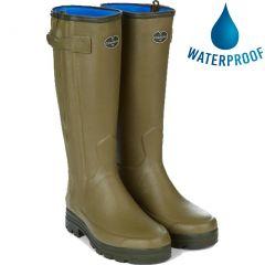 Le Chameau Mens Wellies Chasseur Neoprene Zip Wellington Boots - Vert Vierzon