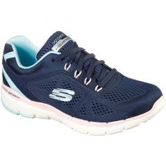 Skechers Womens Flex Appeal 3.0 Steady Move Trainers - Navy Pink