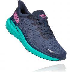 Hoka One One Womens Clifton 8 Wide Fit Running Shoes - Outer Space Atlantis