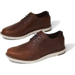 Toms Mens Navi Oxford Leather Shoes - Brushwood Brown
