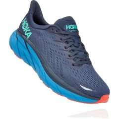 Hoka One One Mens Clifton 8 Wide Fit Running Shoes - Outer Space Vallarta Blue