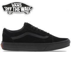 Vans Mens Womens Old Skool All Black Suede Trainers - Black Black