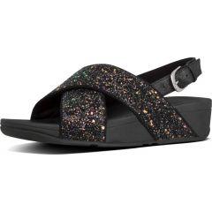 Fltflop Womens Lulu Glitter Back Strap Sandals - Black Glitter