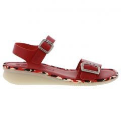 Fly London Womens Comb Leather Wedge Jesus Sandals - Lipstick Red (P144230011)