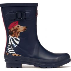 Joules Womens Molly Welly Short Wellington Boots - Navy Sausage Dogs