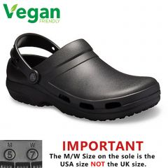 Crocs Mens Womens Specialist Vent II Vegan Work Clogs Shoes - Black
