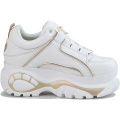 Buffalo Boots Womens 1339-14 Chunky Platform Trainers Shoes - White Light Gold