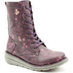 Heavenly Feet Womens Martina 3 Vegan Boots - Purple Floral
