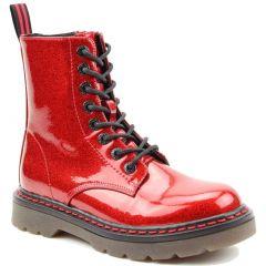 Heavenly Feet Womens Justina 8 Eye Boot - Red Glitter