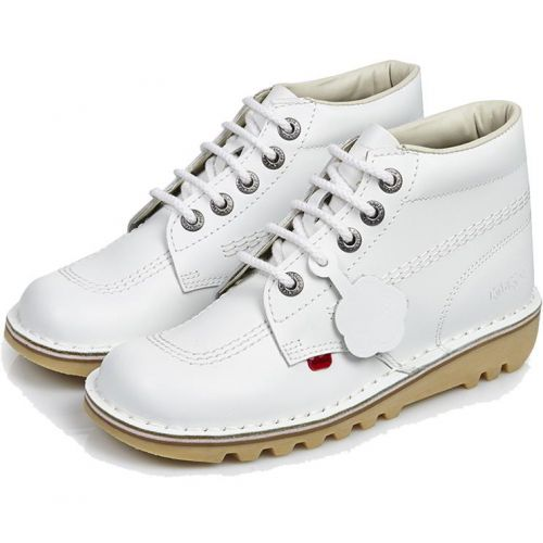 Kickers Kick Hi Unisex Leather Ankle Boots In White