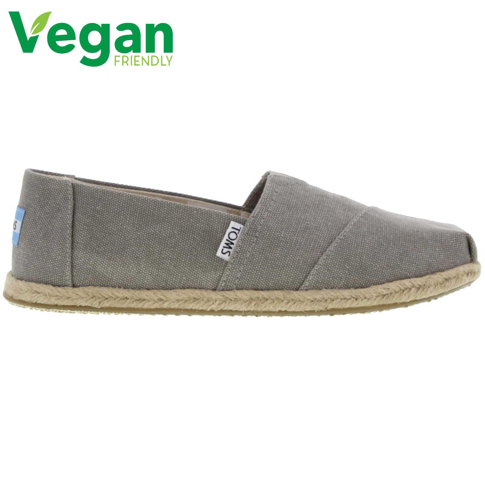 Toms Womens Classic Espadrille Vegan Shoes - Drizzle Grey Washed