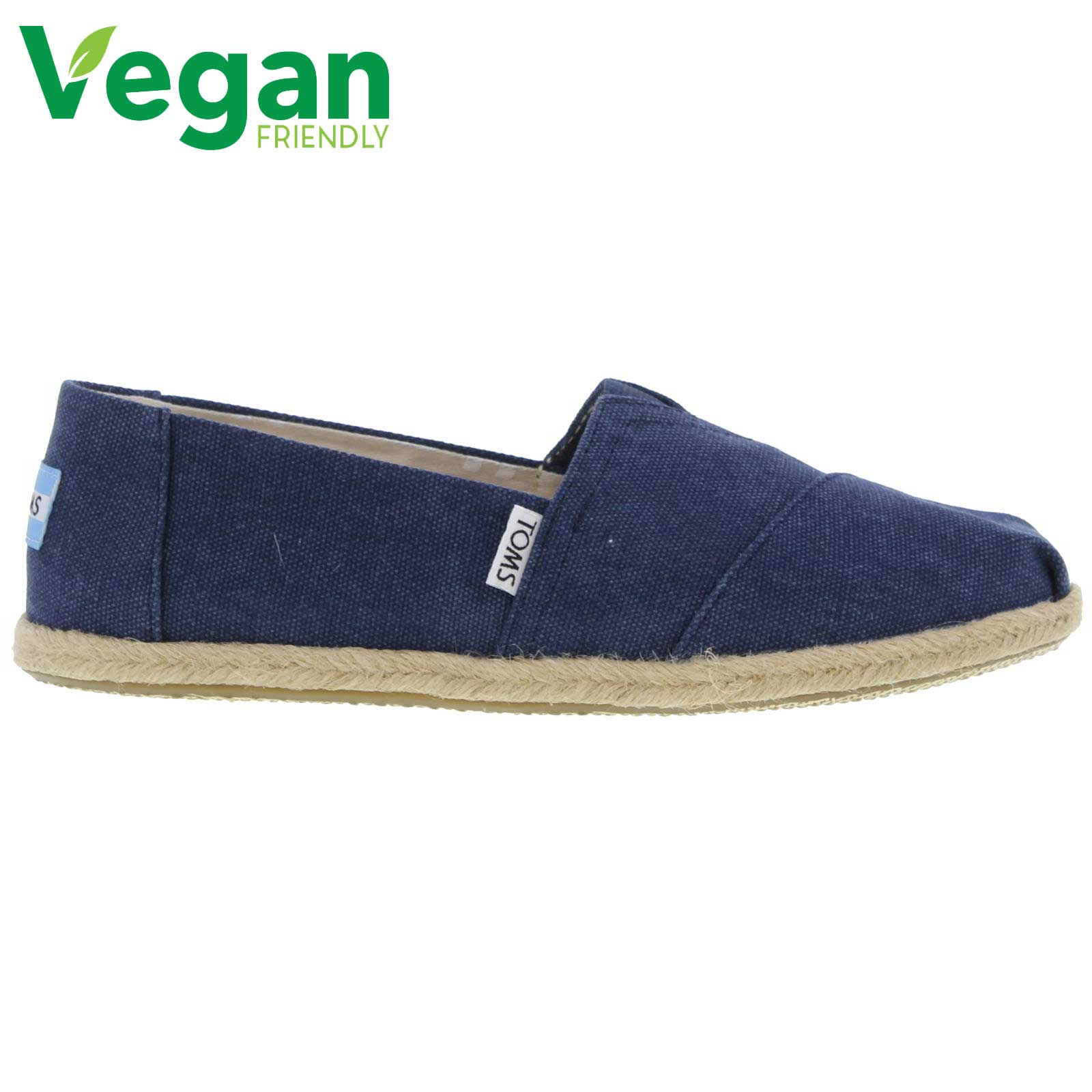 Toms Womens Classic Espadrille Vegan Shoes - Navy Washed