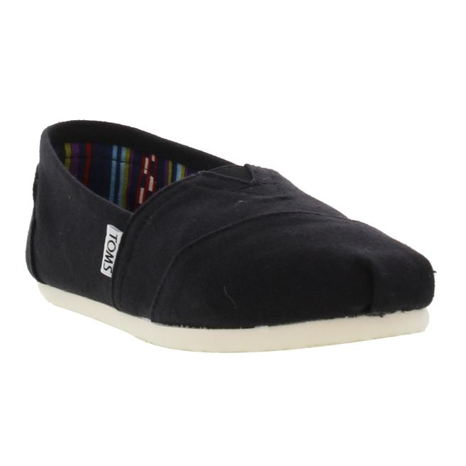 Toms Womens Alpargata Classic Espadrille Shoes - Black White