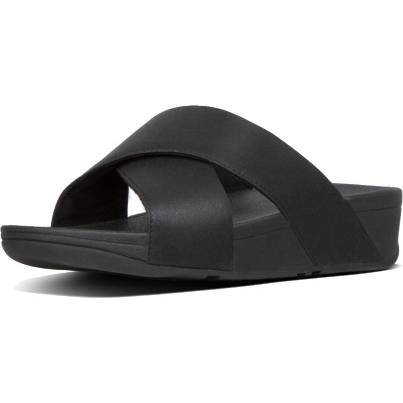 Fitflop Womens Lulu Shimmerlux Cross Slide Sandals - Black
